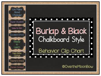 Burlap & Black Chalkboard Style Behavior Clip Chart
