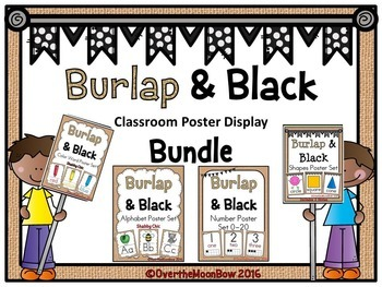 Burlap Black Classroom Décor Poster Bundle