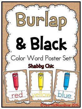 Burlap & Black Color Words Poster Set