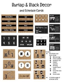 Burlap & Black Decor and Schedule Cards