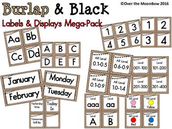 Burlap & Black ~ Labels & Displays Mega-Pack