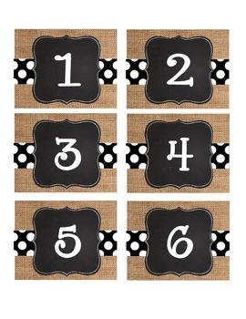 Burlap & Black Number Labels: Leveled Library or Calendar