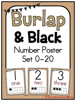 Burlap & Black Number Poster Set