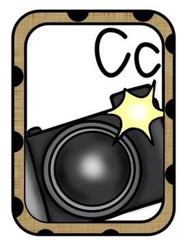 Burlap & Black Polka Dots Alphabet Cards