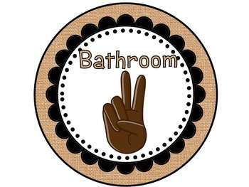 Burlap & Black Style Hand Signal Display | Editable