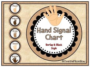 Burlap & Black Style Hand Signal Display | Editable