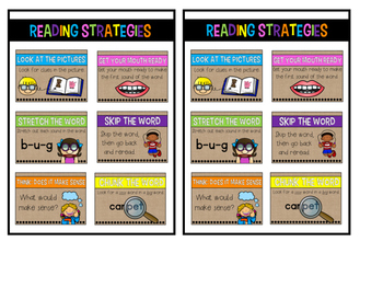 Burlap Bright & Black Reading Strategy Posters