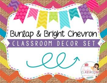 Burlap & Bright Chevron Classroom Decor Set