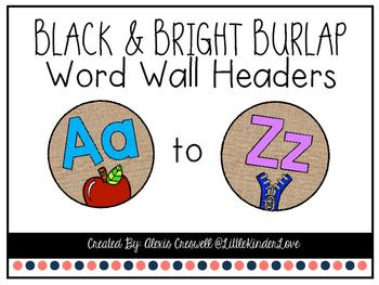 Burlap & Bright Word Wall Headers