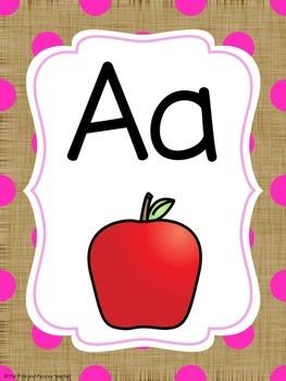 Burlap Brights Alphabet Posters