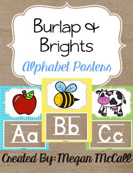 Burlap & Brights Alphabet Posters