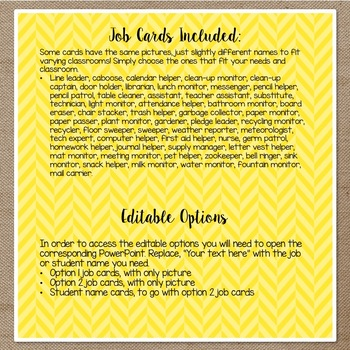 Burlap & Brights: Classroom Job Chart (2 Options)