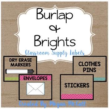 Burlap & Brights: Classroom Labels