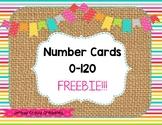 Burlap & Brights Number Cards