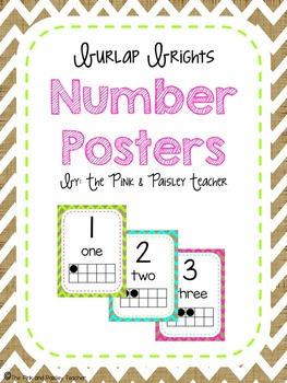 Burlap Brights Number Posters - with Tens Frames