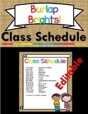 Burlap Brights Schedule | Editable