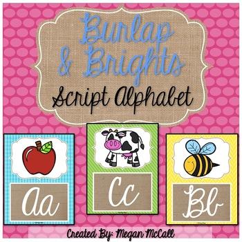 Burlap & Brights Script Alphabet Posters