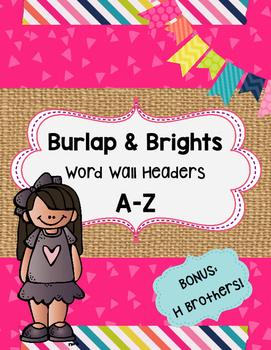 Burlap & Brights Word Wall Headers