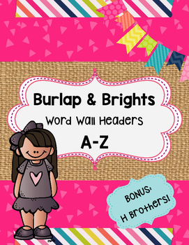 Burlap & Brights Word Wall Headers