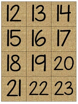 Burlap Calendar Numbers and Months