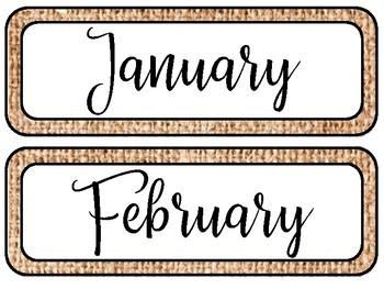 Burlap Calendar Set
