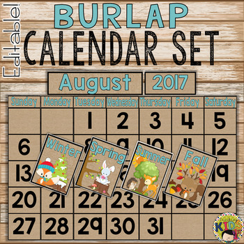 Burlap Calendar Set editable (Camping Theme)