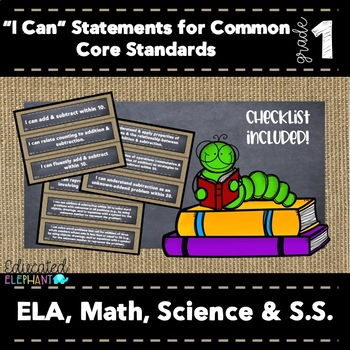"""Burlap Chalk """"I Can"""" Statements - First Grade -ELA, Math, Science & S.S."""