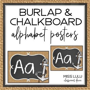 Burlap & Chalkboard Alphabet Posters