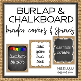 Burlap & Chalkboard Binder Covers & Spines {Editable}
