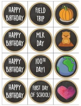 Burlap & Chalkboard Classroom Calendar Kit