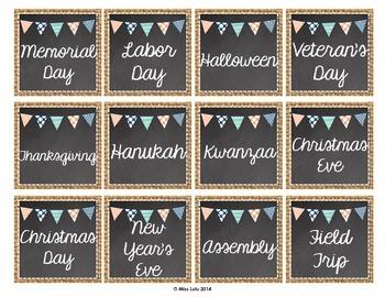 Burlap & Chalkboard Classroom Calendar Pieces