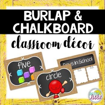 Burlap & Chalkboard Classroom Decor Set
