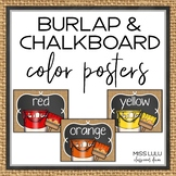 Burlap & Chalkboard Color Cards- Classroom Decor