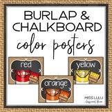 Burlap & Chalkboard Classroom Decor Color Posters