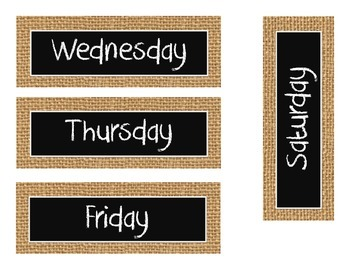 Burlap & Chalkboard Days of the Week for Classroom Calendar