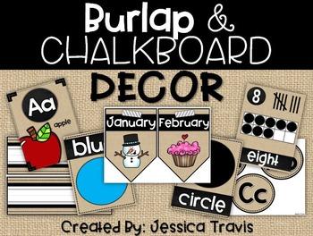 Burlap & Chalkboard Decor