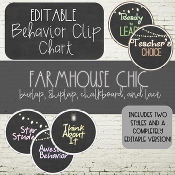 Burlap & Chalkboard Farmhouse Chic EDITABLE Behavior Clip Chart