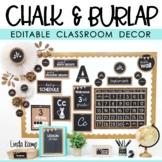 Burlap and Chalkboard Farmhouse Classroom Decor EDITABLE