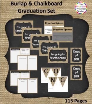 Burlap & Chalkboard Graduation Bundle