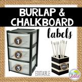 Burlap & Chalkboard Labels {Editable}