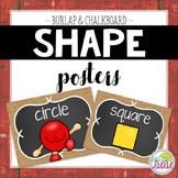 Burlap & Chalkboard Shape Posters- Classroom Decor