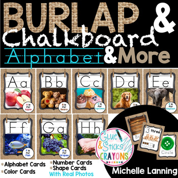 Burlap&Chalkboard Themed Alphabet,Colors,Numbers and Shapes with Real photos!