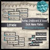 Burlap, Chalkboard, & Wood (Farmhouse) Desk Name Plates