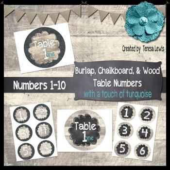 Burlap, Chalkboard, & Wood (Farmhouse) Table Numbers FREEBIE