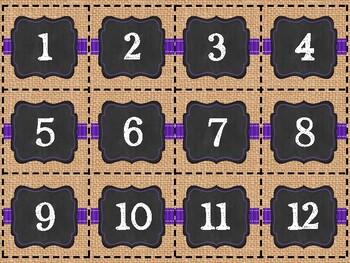 Burlap, Chalkboard, and Purple Calendar Set