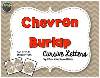 Burlap Chevron Cursive Alphabet