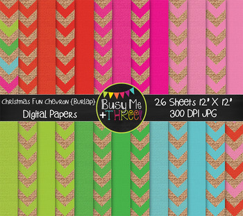 Burlap Christmas Fun Chevron Digital Papers {Commercial Use Digital Graphics}