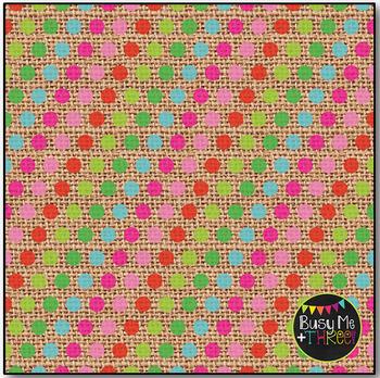 Burlap Christmas Fun Polka Dots Digital Papers {Commercial Use Digital Graphics}