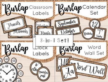 Burlap Class Decor Bundle Set