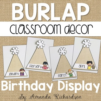Burlap Classroom Birthday Display